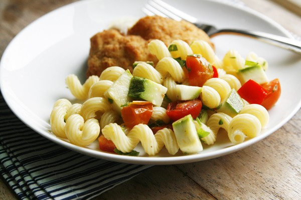 Lemon Parsley Pasta Salad (with Barber Foods Chicken Cordon Bleu)