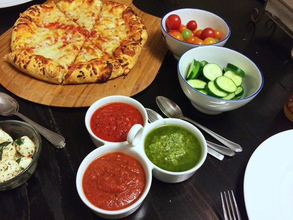 Pizza with a Dipping Sauce Trio