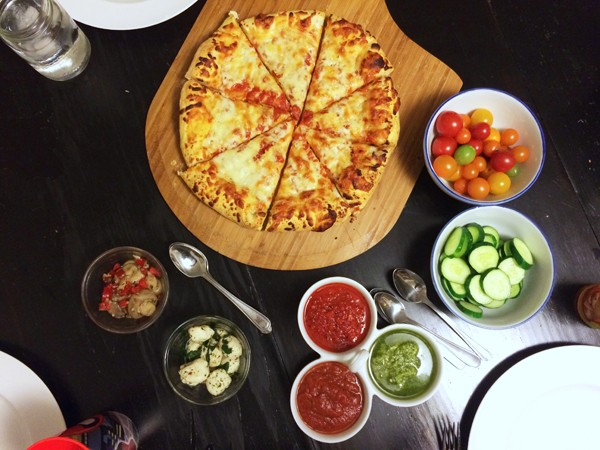 Pizza with a Trio of Dipping Sauces