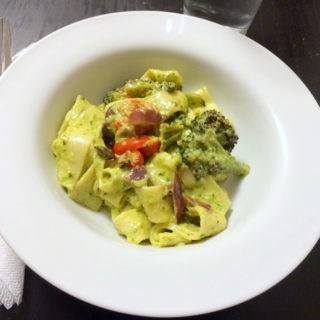 Roasted Vegetable Papperdelle with Creamy Pesto Sauce