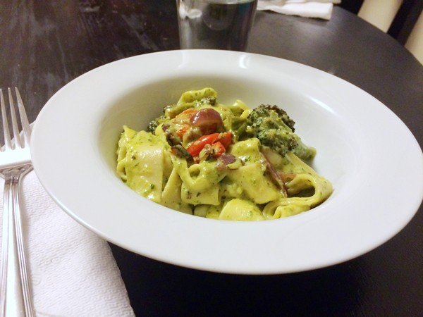 Roasted Vegetable Papperdelle with Creamy Pesto Sauce recipe