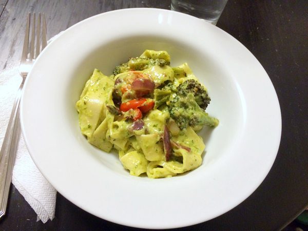 Roasted Vegetable Pappardelle with Creamy Pesto Sauce