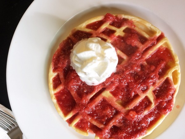 Death Star Waffles with Strawberry Sauce