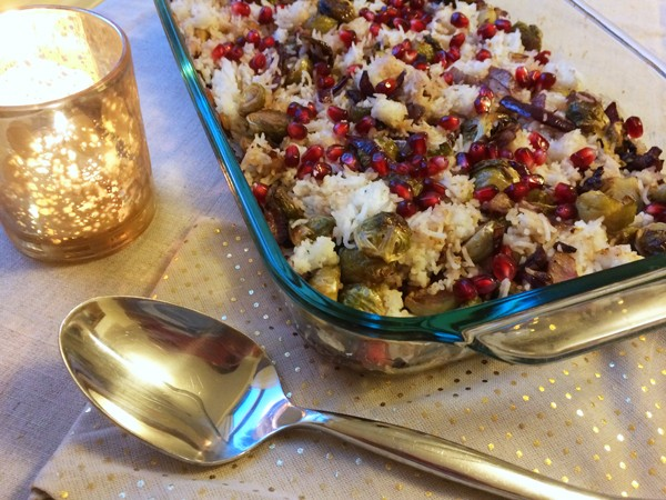 Pomegranate Roasted Brussels Sprouts with Rice