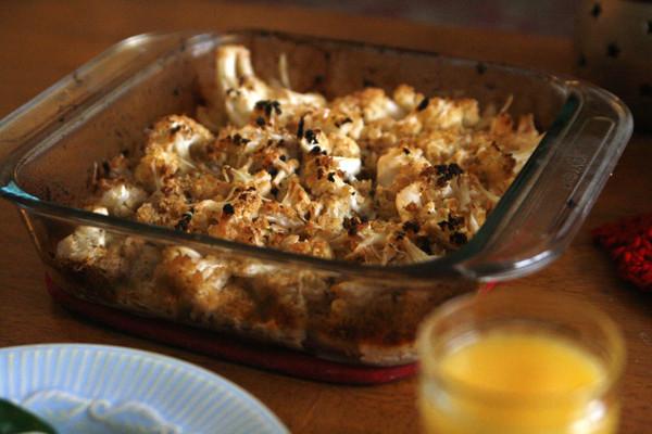 Slow Roasted Lemon Garlic Cauliflower Casserole