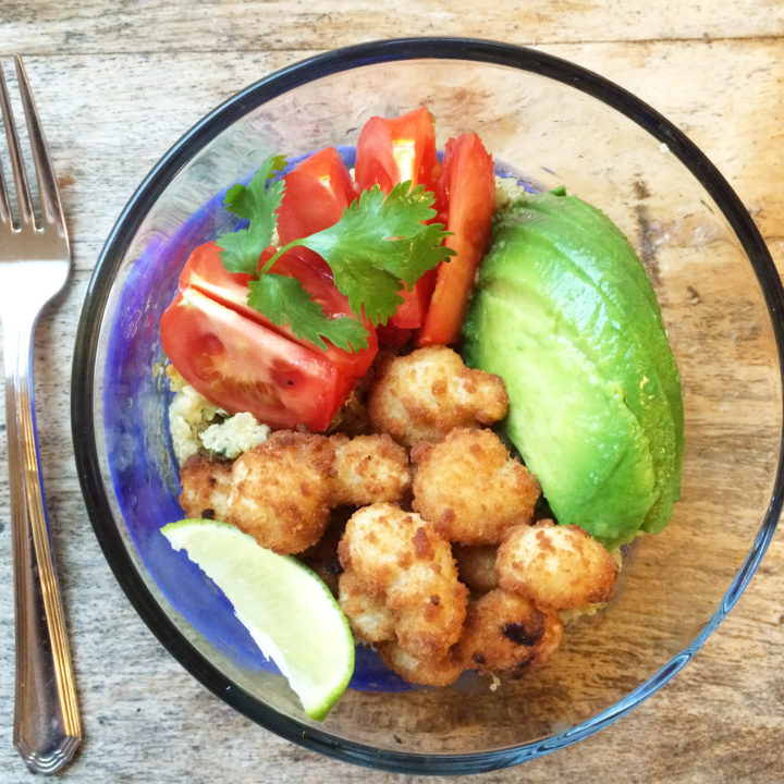 Avocado and Shrimp Cilantro Lime Quinoa Bowl