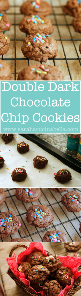 Double Dark Chocolate Chip Cookies Recipe from sarahscucinabella