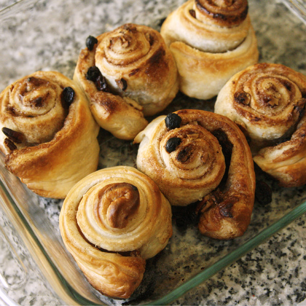Easy Puff Pastry Cinnamon Rolls with Raisins and Pecans