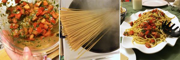 Making Bucatini Pomodoro
