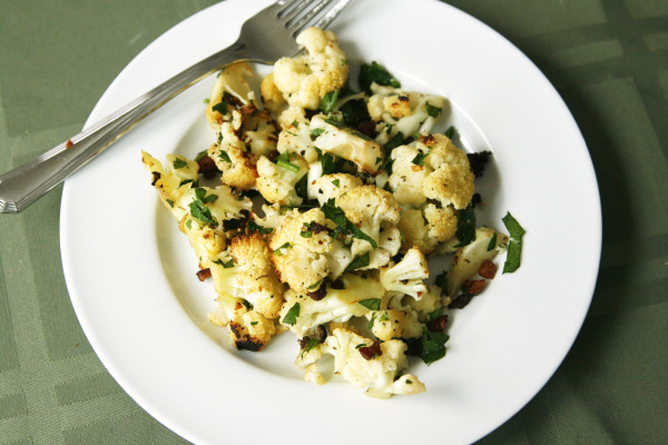 Roasted Cauliflower Salad with Warm Pancetta Garlic Vinaigrette