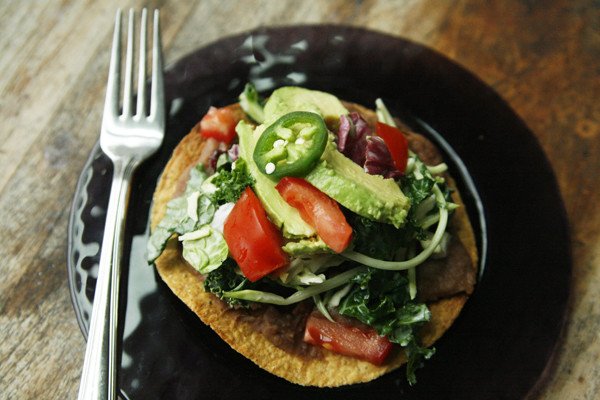 Sweet Baby Kale Refried Bean Tostada