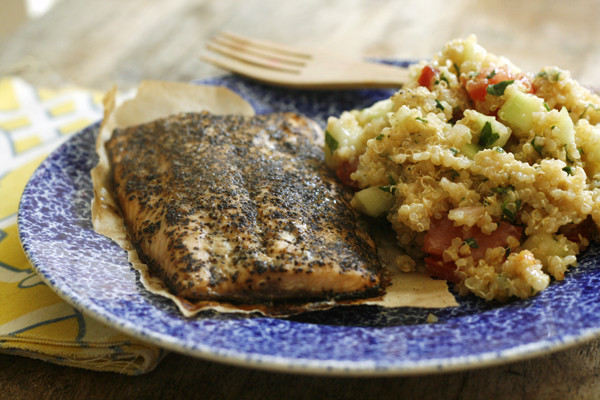 Salmon with Lemon Shallot Quinoa