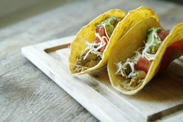 Slow Cooker Shredded Chicken Tacos with Poblano Peppers