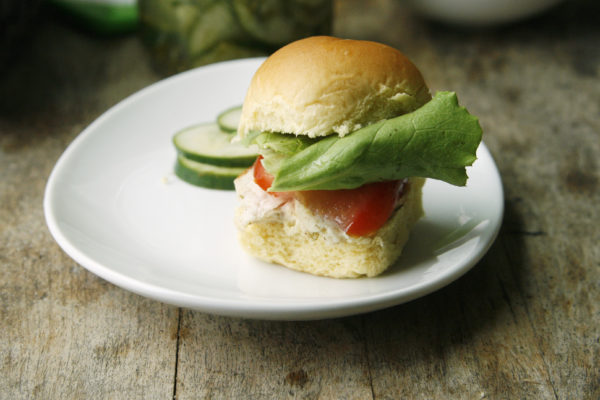 Garlic Dill Chicken Sliders with Lettuce and Tomato
