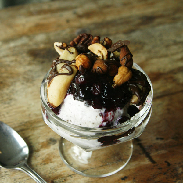Cookies and Cream Sundaes with Blueberry Sauce and Salted Dark Chocolate Nuts recipe