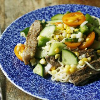 Lemony Steak Chopped Salad with Ramen Noodles