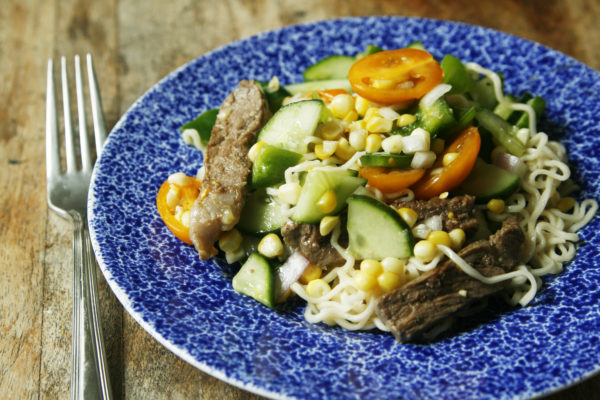 New on Maine Course: Lemony Steak and Veggie Chopped Salad with Ramen