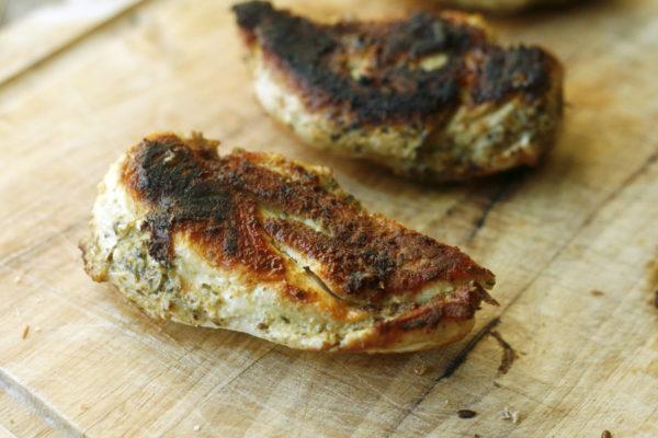 Juicy Skillet Chicken Recipe with a Pesto Marinade