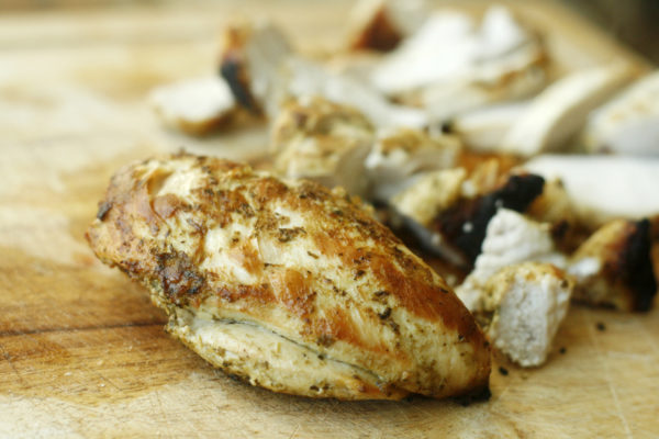 Skillet Chicken with Pesto Marinade