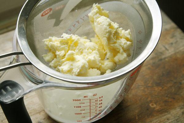 draining-homemade-butter