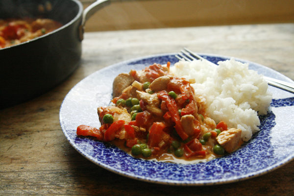 Creamy Tomato Shallot Chicken Skillet with Red Peppers and Peas