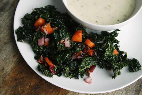 crunchy-kale-salad-and-potato-soup