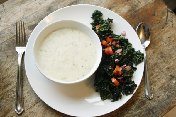 Crunchy Kale Salad with Cranberry Vinaigrette with a Comforting Soup
