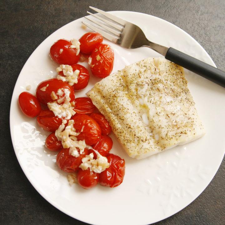 Tomato Garlic Baked Cod