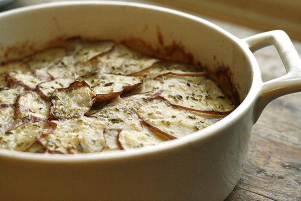 Herbed Potato Gratin with Gouda and Romano recipe