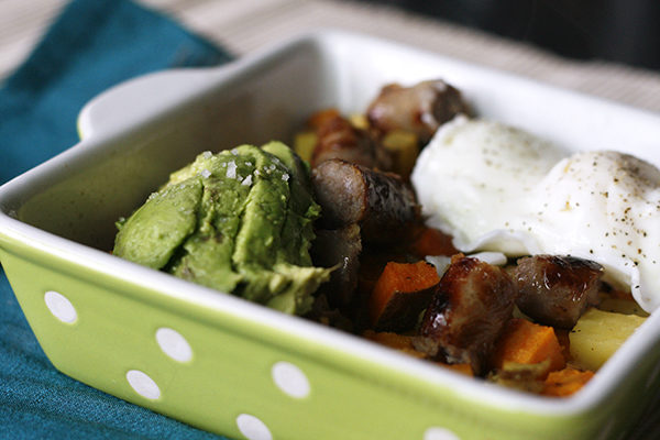 This easy recipe for Potato and Sausage Bake with Poached Egg and Avocado is perfect for an elegant, easy brunch.