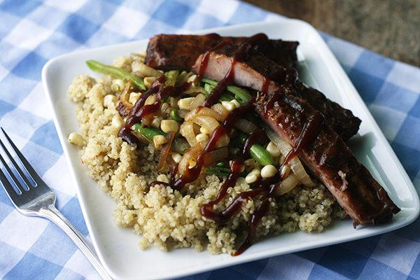 Quinoa with Ribs and Sautéed Veggies