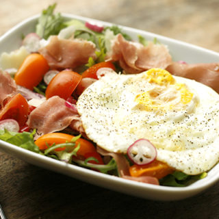 French Breakfast Radish, Prosciutto and Egg Breakfast Salad on Baby Kale