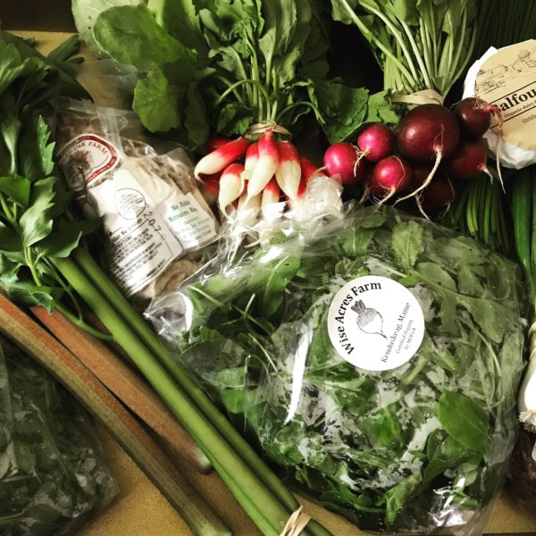 Maine farmers' market haul, early May 2018