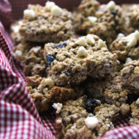 Easy Blueberry Muffin Granola Bars with White Chocolate