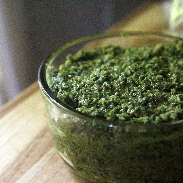 Garlic Scape Basil Parsley Pesto recipe