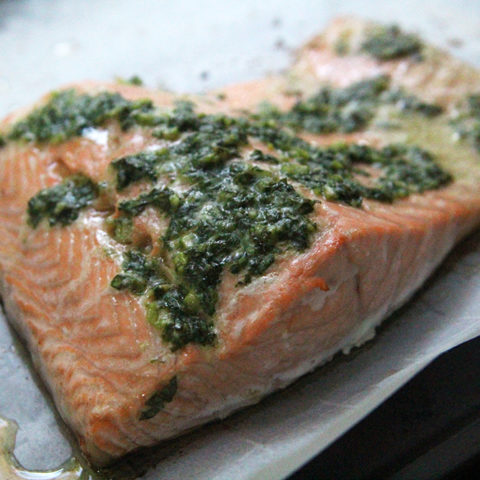 Salmon with Garlic Basil Butter
