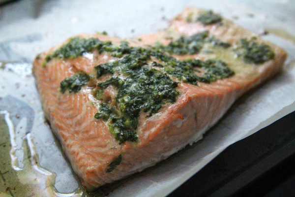 Roasted Salmon with Garlic Basil Butter recipe