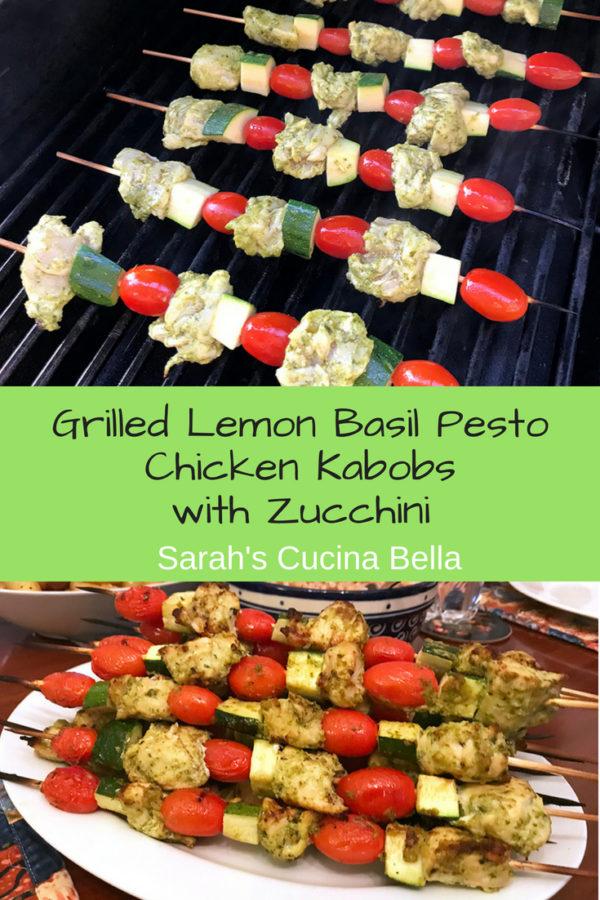 Grilled Lemon Basil Pesto Chicken Kabobs with Zucchini