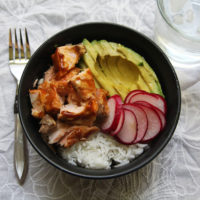 Teriyaki Salmon and Avocado Bowl with Pickled Radishes