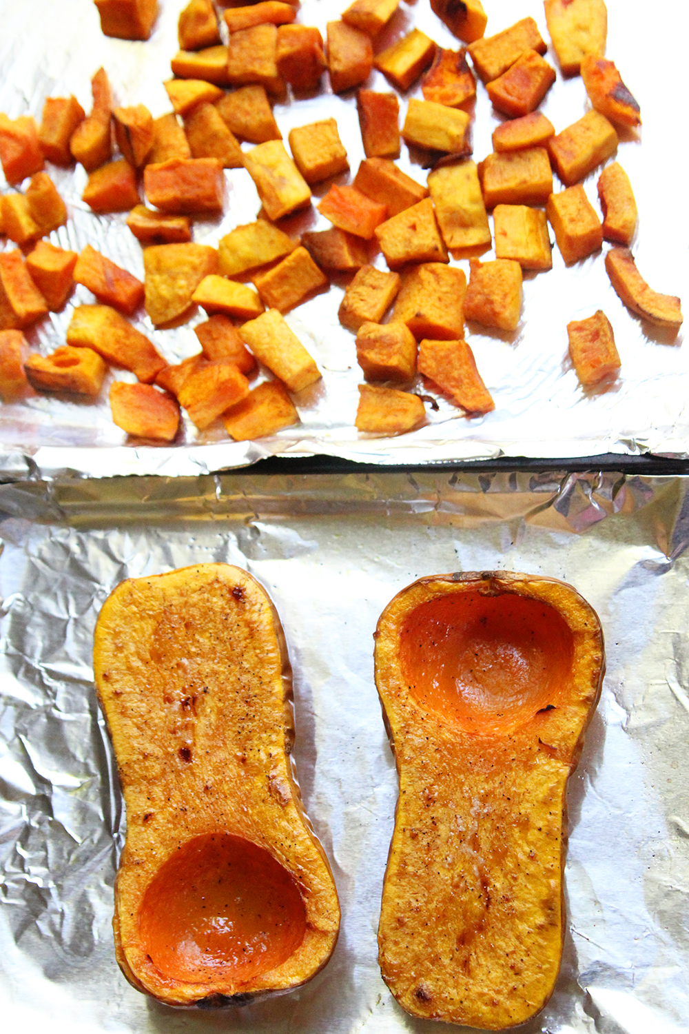 How to Roast Butternut Squash halves and cubes