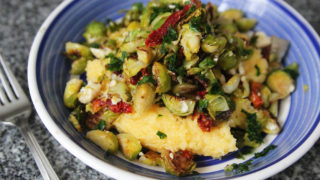 Roasted Brussels Sprouts Polenta with Sundried Tomatoes and Gorgonzola