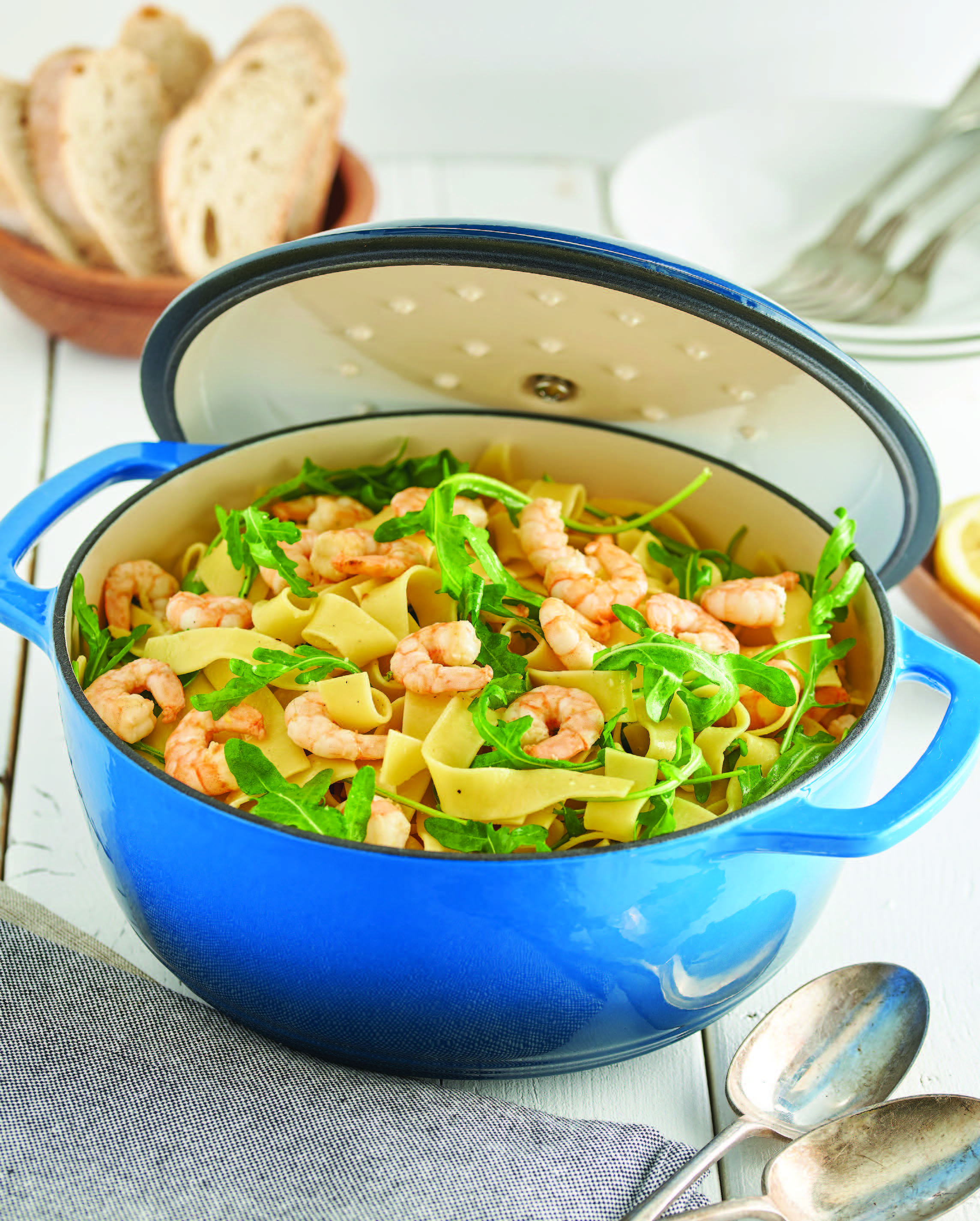 Lemon Garlic Shrimp One-Pot Pasta with Arugula