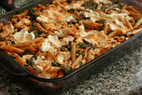 Spinach Baked Ziti is a hearty dinner that's good for cooking with kids.