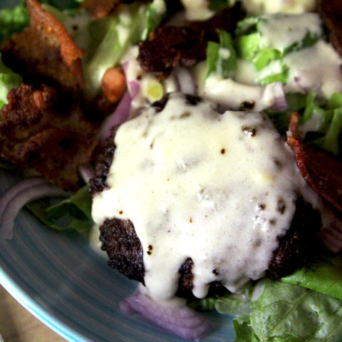 Bacon Burger Salad with Gouda Cheese Sauce