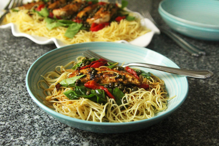 Chicken, Greens and Roasted Red Peppers with Lemon Butter Caper Sauce over Angel Hair Pasta