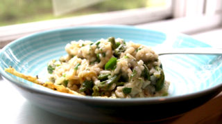 Spring Onion Fiddlehead Risotto