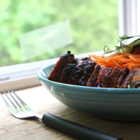 Grilled Pork Rice Noodle Bowls with Garlicky Spinach and Spicy Quick Pickles