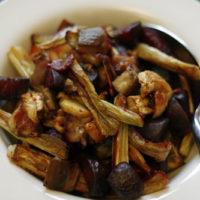 Roasted Beets, Leeks and Eggplant