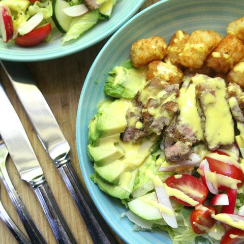 Steak and Potato Salad with Blender Hollandaise