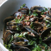 Steamed Clams with White Wine, Pancetta and Basil